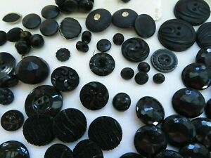Vintage Buttons 90 Black Sets & Individuals Plastic Glass 1950's & Up Tiny to Lg