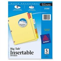 Avery Big Tab Reinforced Insert Divider - Blank - 5 Tab[s]/set - 5 / Set -