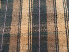 """1.25 yds 84"""" wide WOOL woven PLAID upholstery clothing FABRIC Black Brown Craft"""