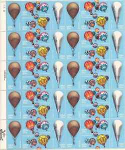 US Stamp - 1983 Balloons on Stamps - 40 Stamp Sheet - Scott #2032-5