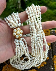 Vintage 10 Strand Ivory White Rice Pearl Necklace with Statement Clasp