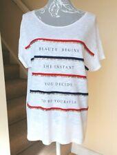 Stradivarius Women's White Short Sleeve T-Shirt w Sequin Detail Front ~ Large