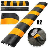 2Pcs Modular Rubber Speed Bumps Electric 10000kg Capacity Non-Deformed Sturdy