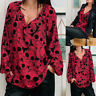 Women's Fashion Skull Print V-neck Long-Sleeved Shirt Top Casual Loose Blouse US