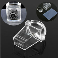 Transparent Nail Art Stamper with Cap Square Clear Silicone Stamping Plate Kits