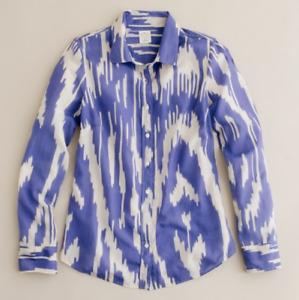 J Crew - Purple Ikat Button-up Cotton Silk Blend Blouse Top, Size 10