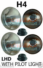 "7"" LHD FLAT LENS CLASSIC CAR HEADLAMPS HEADLIGHTS HALOGEN H4 CONVERSION + PILOT"