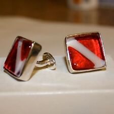 Scuba Diving cufflinks Art Glass and Sterling Silver made in USA By Zulasurfing