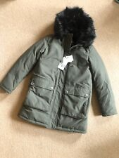 Zara Khaki Green Padded Puffer Hooded Parka Coat L UK14  Bnwt