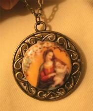 Lovely Floral Rimmed Buttery Yellow Madonna & Child Porcelain Cameo Necklace