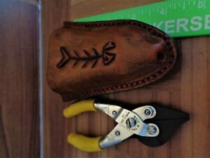 """FISHING SHEATH FITS  5"""" MANLEY PLIERS LEATHER STAINLESS STEEL HANDCRAFTED USA"""