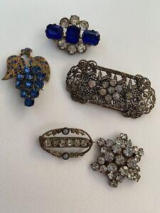 Antique/Victorian Paste Brass/Gilt Brooches X5 (x1 Has No Closure Mechanism)
