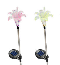 Set of 2 Solar Powered Lily Flower Yard Garden Stake Color Changing LED Light