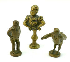 COLLECTION OF 3 ANTIQUE 19thC CAST BRASS CARICATURE NOVELTY PIPE TAMPERS SEALS