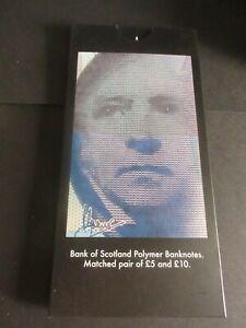 BANK OF SCOTLAND POLYMER MATCHED £5 & £10 AA002447, LIMITED FOLDER MINT, UNC