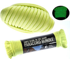 Glow In The Dark Green 550 Cord 100 Ft Paracord Lanyard Type III 7 Strand Camp
