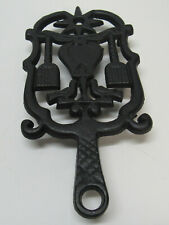 Trivet Bird Cross Broom Heart Star Black Hot Plate Cast Iron Metal Vintage
