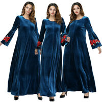 Muslim Women Velvet Embroidery Bell Sleeve Long Maxi Kaftan Abaya Dress Jilbab