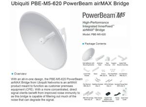 Ubiquiti PBE-M5-620(US) PowerBeam M5 airMax with Integrated Dish Antenna 29 dBi