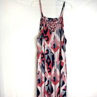 Banana Republic Size XL Maxi Dress Spaghetti Strap Pink Black Gray Southwest