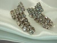 Pretty Vintage 1980's Sparkling Ice Rhinestone Pierced Dangle Bow Earrings 806o9
