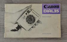 Canon DIAL35 - notice d'utilisation - mode d'emploi