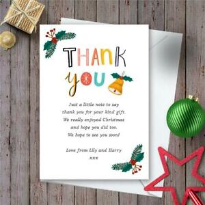 10 Personalised Christmas Thank You Cards notes