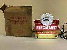 Vintage 1940's Stegmaier Steg Beer Cash Register Clock Sign Light w/ Box