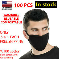 100 PCS Face Mask Black Fashion Washable Reusable Breathable Unisex Double Layer