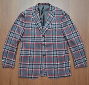 Sartorio Napoli Wool Cashmere Plaid Check Mens Sport Coat Blazer Jacket sz 50
