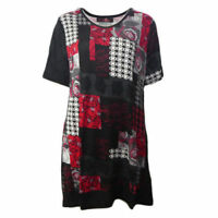 Tunic Top by SUN ROSE Plus Size 14 16 18 20 22 24 Red Black Modern Print