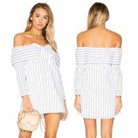 Lovers + Friends Women's Dress Revolve Fold Over Stripe Cuffed NWT Size S