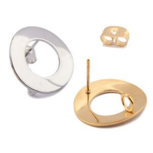 10X Stainless Steel Hollow Round Hoop Stud Earrings Post Connectors With Loop