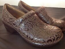 Boc Born Concept Size 9  40.5  Brown Tooled Clogs Slip On