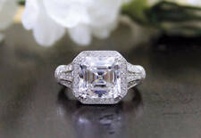 5.25 Ct Antique Asscher Cut Moissanite Wedding Engagement Ring In 9K White Gold