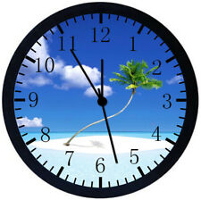 Beautiful Palm Tree Beach Black Frame Wall Clock Nice For Decor or Gifts E367