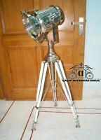 Spotlight floor lamp tripod stand chrome style vintage antique replica nautical