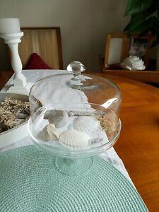 Glashaube mit Glasfuss Glasglocke Tortenplatte Tablett vintage und shabby Cupcak