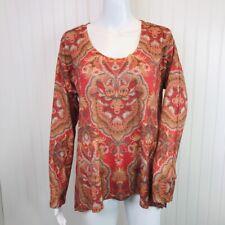 Soft Surroundings PL Sweater Orange Print Lightweight Scoop Neck Long Sleeve