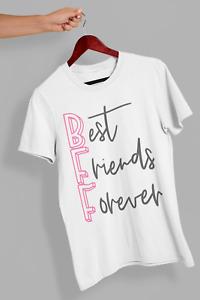 Best Friends Forever BBF Besties Funny Girls T shirt Top Gift Women's 381