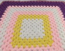 Handmade Crocheted Baby Afghan Blanket Throw Lap 30 x 30 Purple Pink White