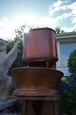 19C French Provence Oak/Copper/Brass Wall Wash Basin/Lavabo