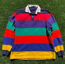 Rare VTG 90s Rainbow Striped Polo Ralph Lauren Pony L/S Rugby Shirt Large