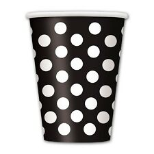 6 Black White Polka Dot Spot Style Birthday Party 12oz Disposable Paper Cups