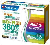 10 Verbatim 3D Bluray Disc 50 GB BD-R DL 4x, Inkjet Printable Spindle Cake.