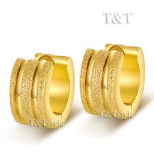 Steel Thick Hoop Earrings (Eg52) T&T 14K Gold Gp Stainless