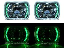 7X6 Green LED Halo Projector Halogen Crystal Headlights Angel Eye Light H4 Bulbs