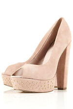 New TOPSHOP STACCATO Studded Peep Shoes UK 7 in Nude