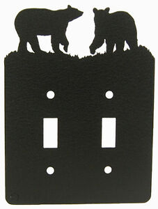 Bear Double Switch Cover Plate Black