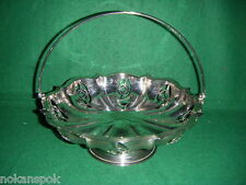 vintage SILVER PLATED swing handle FRUIT BASKET bowl FOOTED pierced SCALLOPED (F